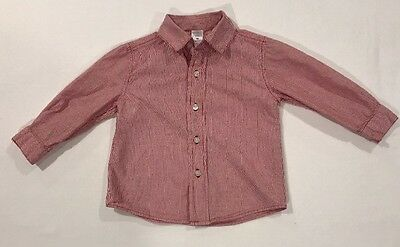 George Baby Boy Red Striped Long-sleeve Button Down Shirt Size 18 Months