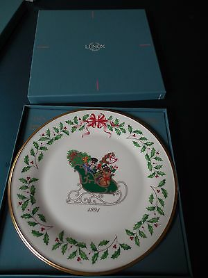 LENOX 1991 Annual Holiday Collector's PLATE 1st Limited Edition Series Sleigh