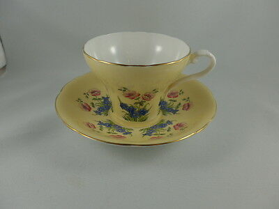 Vintage Aynsley China Yellow with Floral  Cup and Saucer
