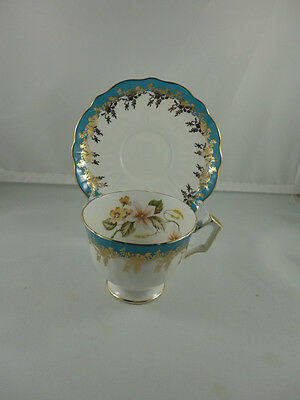 Vintage Aynsley China Turquoise Footed Tea Cup and Saucer