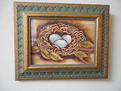 truly lovely little hand painted picture of nest & eggs w frame for bird lover