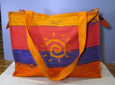 Miro Cancun Mexico Colorful Orange and Purple Beach Tote Bag