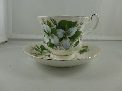 Vintage Royal Albert China  Footed  Cup and Saucer TRILLIUM