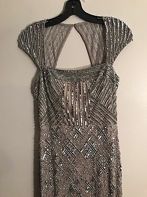 Stunning Adrianna Papell Long Silver Sequin Gown Size 4
