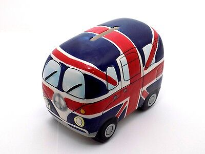 Novelty Kombi Bus British Union Jack Money Box Van Ceramic Volkswagen
