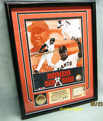 BARRY BONDS, 500TH STOLEN BASE, GAME USED BASE PHOTOMINT display, Limited to 250