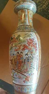 Vintage Chinese Vase Hand Painted Made In China 1970s Height 12""