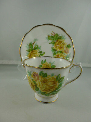 Vintage Royal Albert China  Footed  Cup and Saucer Yellow TEA ROSE