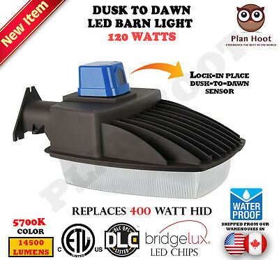 120W Dusk To Dawn Led Barn Street Pole Light Shoe Box Outdoor Security Wall Pack