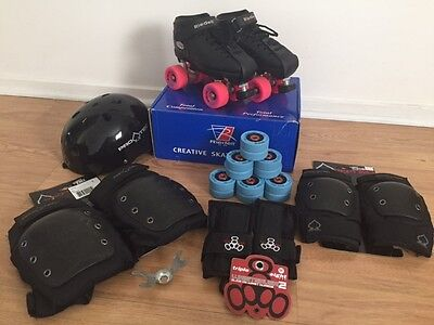 Roller Derby Pack: Reidell R3 skates size 6, 2 sets of wheels + protective gear