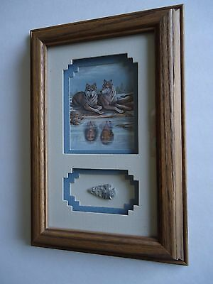 "Framed Oak Shadow Box ""Life Mates""  Art Wolves With Arrowhead By Barbara Roberts"