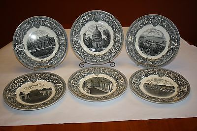 US Naval Academy Spode Transferware Plates Complete Set (6) Bailey Banks Biddle
