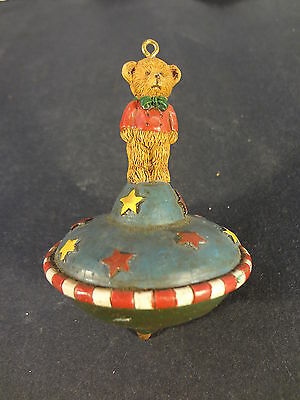 Christmas Tree Decoration Spinning Top Teddy Bear Holiday Ornament Collectible