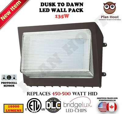LED Wall Pack Dusk to Dawn 135 Watts Outdoor Commercial Replaces 450 500W HID