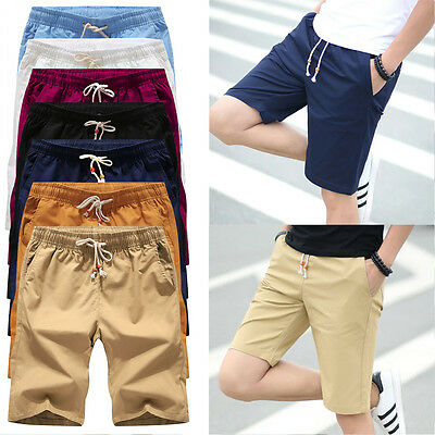 Mens Shorts Sports Casual Cotton Short Pants Slim Solid Trousers Summer Pocket