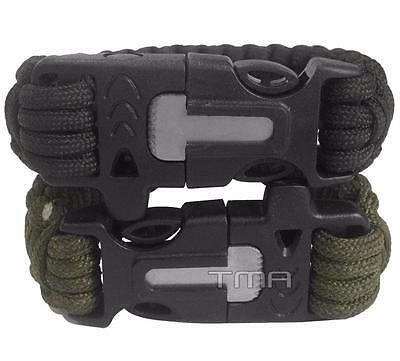 Paracord Survival Bracelet Camping With Whistle Flint Fire Starter - Duo Pack