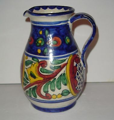 Talavera Rea Mexico Pitcher Colorful Folk Art Mexican Pottery Hand Painted