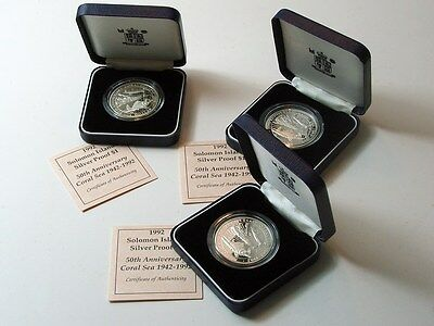 92.5% Silver Proof Uk Royal Mint Coins / 1942-1992 Coral Sea Anniversary
