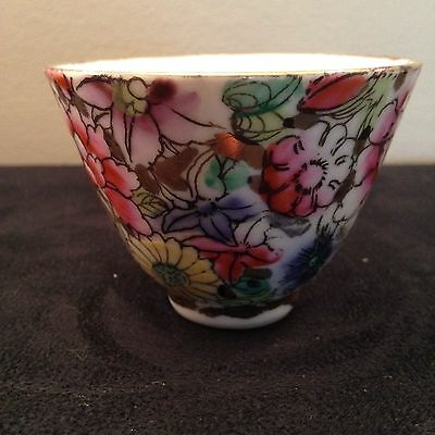 Small Tea Cup/ Saki Cup mid century floral Hand Painted
