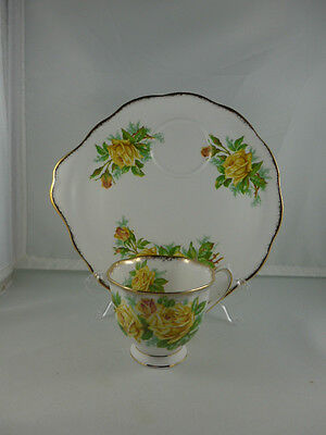 Royal Albert Yellow TEA ROSE Tennis Plate Tea Cup Snack Dessert Appetizer Handle