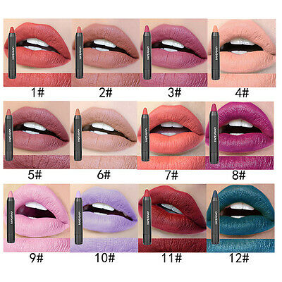12 Farben Wasserfest Lip Gloss Lippenstift Lipstick Matte Long Lasting Make-up