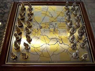 Franklin Mint Civil War Chess Set Early Edition Very Clean Gold & Silver Plated