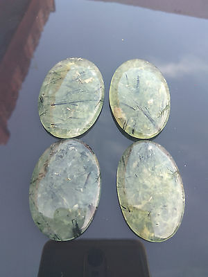 Loose Gemstone Oval Cabochon Natural Prehnite With Epidot For Jewelry 4 Pcs