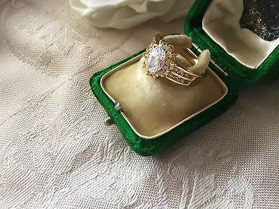 Antique Vintage Gold Dress Ring with Sapphire White stones very large size 12
