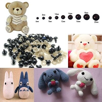 100 pcs 6-20mm Black Plastic Safety Eyes For Teddy Bear Dolls Toy Animal