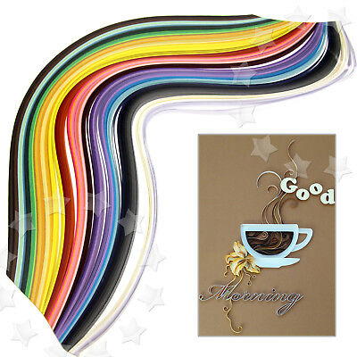 500Pcs Assorted Quilling Paper Art Strips 50Color 540mmx5mm DIY Craft Papercraft