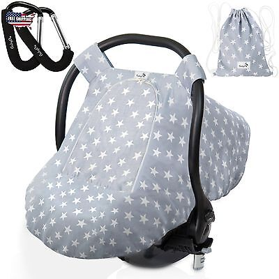 Baby Car Seat Cover Stretchy For Boys Girls Set With 2 Stroller Hooks NEW!!