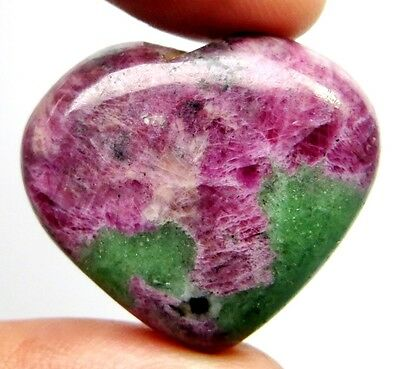 46Cts. Touch Of Heart AAA Natural Ruby Zoisite Heart Shape Gemstone 831