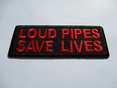 Red Loud Pipes Saves Lives - Patch Sew/Iron - Rider biker Motorcycle vest