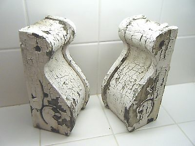 Pair of Antique Porch Corbels Weathered Chippy Crackled Paint