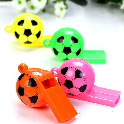 5Pcs Novelty Kids Toys Football Style Plastic Keychain Whistle With Neck Rope