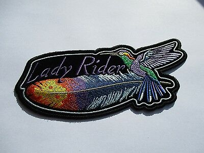 Humming Bird & Feather Back Patch - Sew/iron on Lady rider biker motorcycle vest