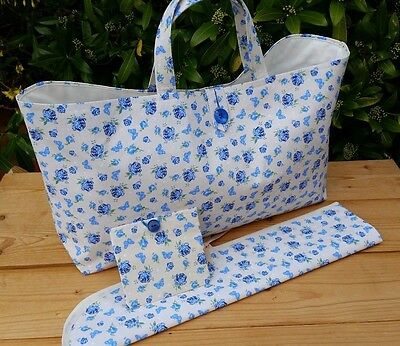 REDUCED! Pretty Knitting Bag Set with Pin Case + FREE Mini Sewing Kit, Hand Made