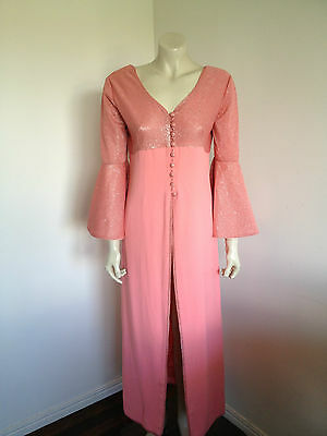 Vintage Retro 1970s Short Sleeve Full Length Dress Size 12 ?