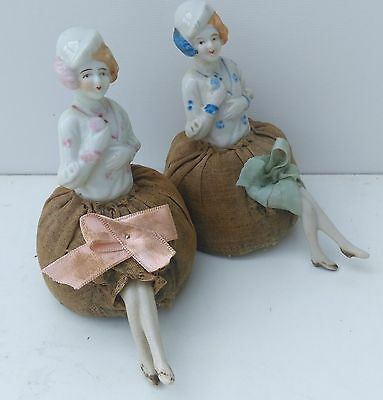Couple of two Vintage,art-deco,half dolls,pin-cushion with half doll,blue & pink