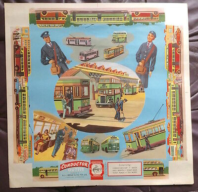 1950S Bus & Tram Conductor Litho Poster Lindsay's Australia Costume Archive Exc!