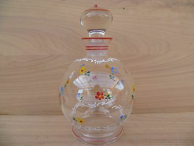 Vintage Old Glass & Crystal Decorated Decanter, Old Glass (F142)