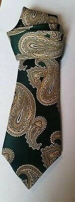 Vintage Mens Tie  Paisley Green and Gold