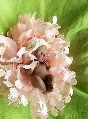 Miniature ooak polymer clay baby girl doll anatomically correct hand made