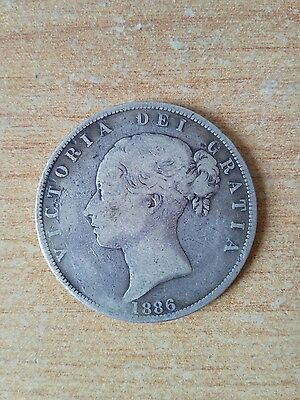 1886 Half Crown - Victoria - Solid Silver British Coin