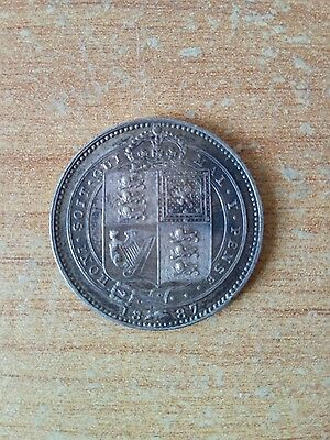 1887 Queen Victoria Jubilee Head Silver Shilling, Scarcer Variety, AU