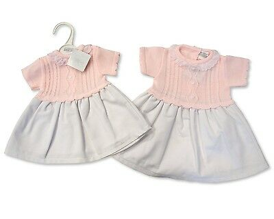 Baby Girls Knitted Top Dress Pink/White