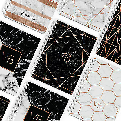 Personalised Notebook A5 Notepad Pads Books Rose Gold Geometric Marble Initials