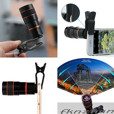 Universal Clip-On 8x 12x Zoom Telescope Lens Phone HD Lux HD450 For LG G6 G5 etc