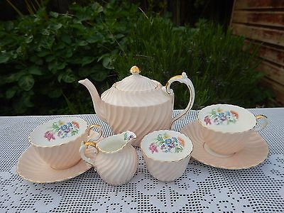Rare Aynsley  Swirl Rim Floral Peach Tea for Two