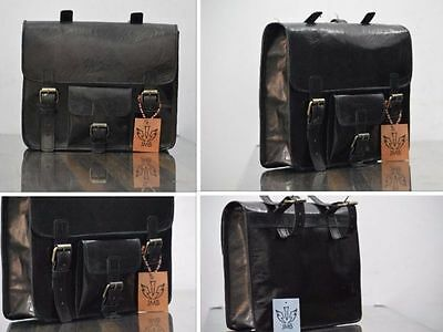 2Side Pouch Black Leather Motorcycle Side Pouch Saddlebags Saddle Bag Panniers